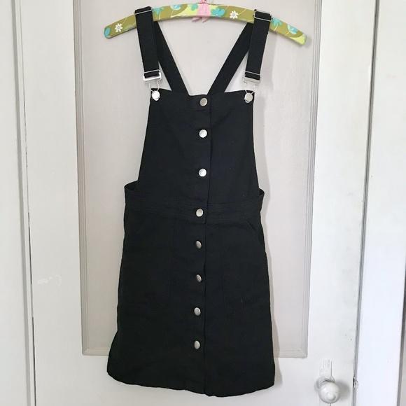 Hm Dresses Hm Black Denim Pinafore Dress Poshmark