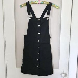 H&M Black Denim Pinafore Dress