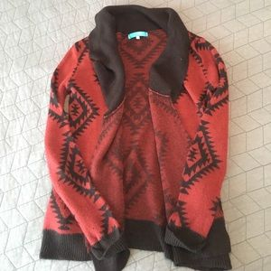 Printed over sized cozy cardigan