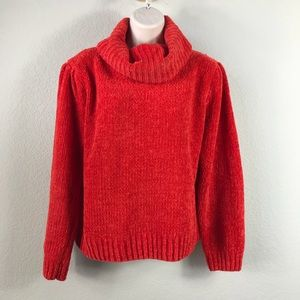 Vintage 90s Red chenille turtleneck puff sweater