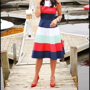 Kate Spade Striped Fit and Flare Dress