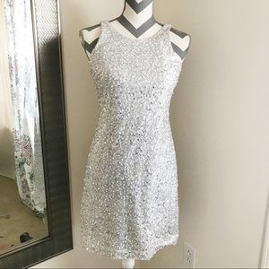 White Silver Sequin Cocktail Dress