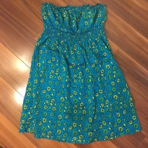Free People blue floral strapless dress 12