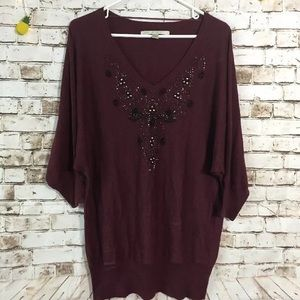 Lauren Conrad large v-neck maroon beaded sweater