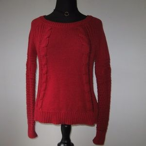 AE Red Cable Knit Pullover Sweater Crew Neck Small