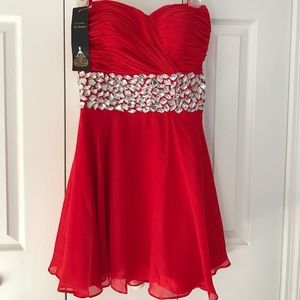 Red Diamond Waist Homecoming Dress