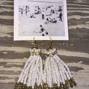 ANTHROPOLOGIE ivory beaded gold tone earrings/NEW