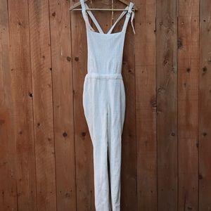 Zara white eyelet overalls