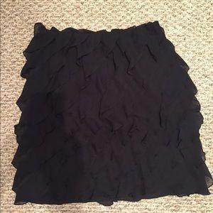 Talbots Petite Black Ruffle Silk Skirt Size 6P