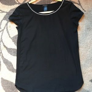 Ann Taylor XS beaded black top