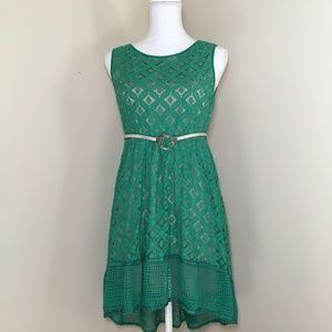 Esley Green Lace High Low Hem Dress Size M