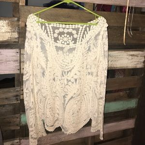 Tops - see through creme embroidered blouse