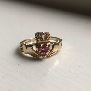 Jewelry - 14k and Ruby Claddagh ring size 4.5