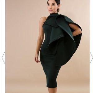 Green scuba high neck midi dress