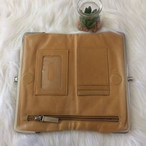 """Hobo """"Lauren""""  Leather Wallet Distressed Tan"""