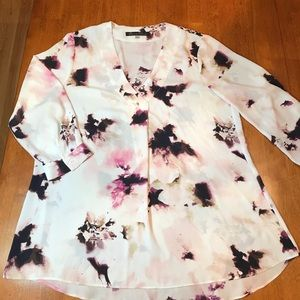 Floral 3/4 sleeve blouse, 100% polyester