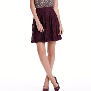 ANN TAYLOR LOFT Purple Lace Overlay Pleated Skirt
