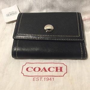 NWT Black Coach Tri-Fold Wallet