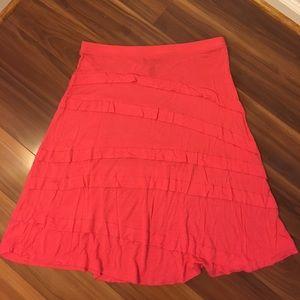 Dresses & Skirts - Pink ruffle midi skirt. Large