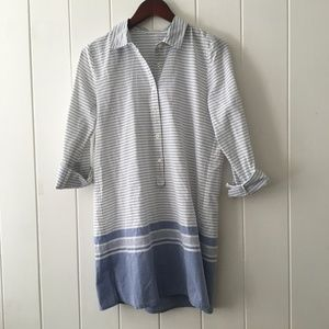 J. Crew Striped Blue Button Down Shirt Dress