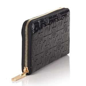 Turquoise Tory Burch embossed Patent lux wallet