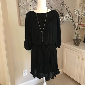 PARKER dress w/ sheer sleeves and pleated skirt XS