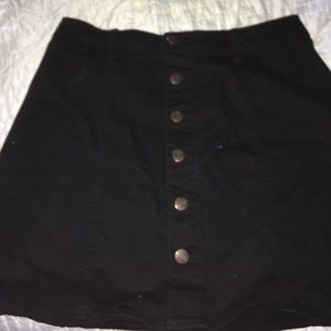 Black a line button down skirt