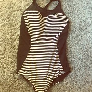 Black and white striped one piece swim suit