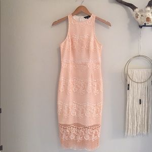 Asos peach and white lace dress