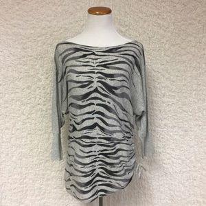 Express cotton gray zebra sweater assymetric hem