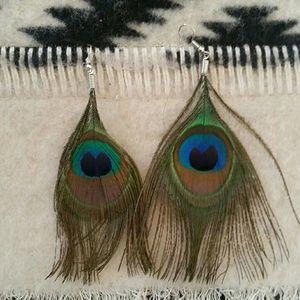 Peacock Feather Boho Gypsy Earrings