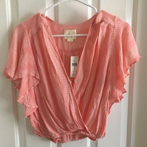 Anthropologie peach crop top. NWT