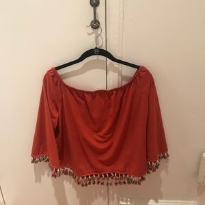 Tops - Faux suede fall top