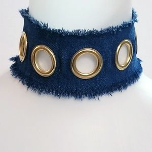 Jewelry - Dark Denim Wide Grommet Choker