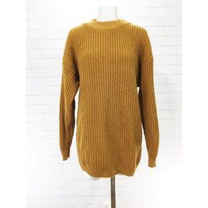 Vintage Oversized Slouchy Marigold Waffle Knit