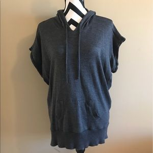 Charcoal Gray short sleeved hoodie