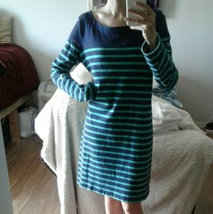 GAP Navy and Green Striped Cotton Shift Dress