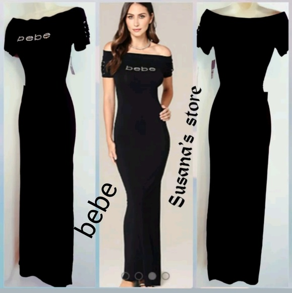 a9d5c1ea1ff NEW WITH TAGS BEBE OFF SHOULDER MAXI DRESS RETAIL