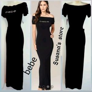 NEW WITH TAGS BEBE OFF SHOULDER MAXI DRESS RETAIL