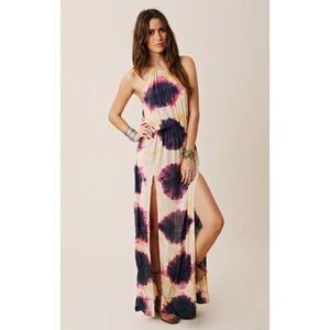 blue life two slit halter maxi tie dye planet blue