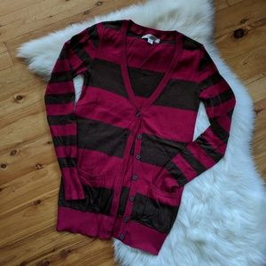 Decree magenta and brown striped cardigan