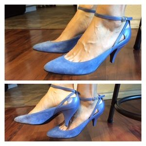 80s Retro Sky Blue Suede Leather Ankle Strap Heels