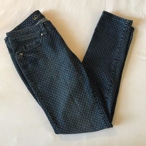 Women's Size 4 white Polka Dot Denim Skinny Jeans