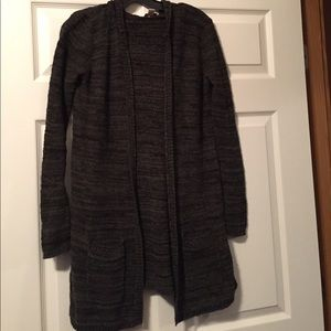 Hooded open front cardigan.