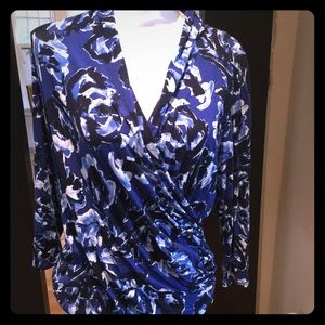 Adrianna Papell Blue Floral blouse
