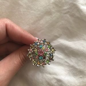 Multicolored ring with adjustable band size!