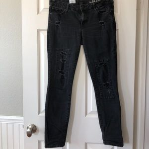Gap black distressed skinny jeans