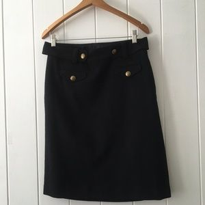 J. Crew Black Belted Wool Skirt