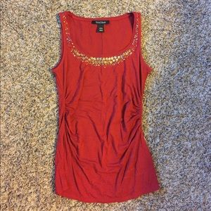Beaded and ruched tank