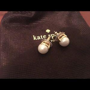 Kate Spade glass pearl gumdrop earrings in cream